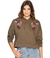 ROMEO & JULIET COUTURE - Crop Knit Hoodie with Floral Embroidery