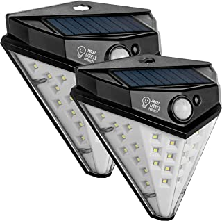 Smart Lights 32 Led Solar Motion Sensor Light Outdoor, Wireless Powered Solar Lights Outdoor, Patio Wall Light Security, 600 Lm Deck Lights, IP 65 PIR Activated Waterproof Step Lights 2 Pack