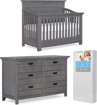 Evolur Waverly 5 in 1 Full Panel Convertible Crib & Double Dresser with Free 260 Coil Crib & Toddler Mattress