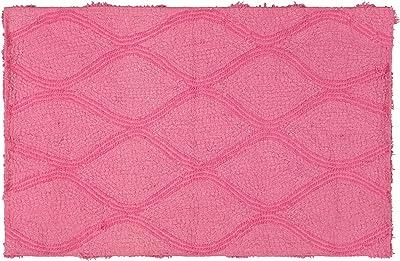 """Story@Home Diana Cotton Blend Door Mat - 16""""x24"""", Pink"""
