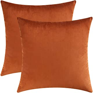 Best Mixhug Set of 2 Cozy Velvet Square Decorative Throw Pillow Covers for Couch and Bed, Burnt Orange, 18 x 18 Inches Reviews