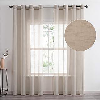 Topfinel Lot de 2 Rideaux Voilage Kaki Grande Largeur 300x240cm en Lin Imitation à Oeillets Voilage de Fenêtre avec Motif ...