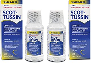 Scot-Tussin Diabetes Cough Syrup with Dextromethorphan Hydrobromide, Diabetic Sugar-Free Cough Suppressant for Fast Dry Cough Relief, 4oz Pack of 2