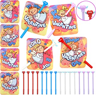 28 Pack Valentine Cards with Heart Shaped Cupid's Arrow Pens for Kids Party Favor, Classroom Exchange Prizes, Valentine's ...