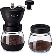 Zolay® Manual Coffee Grinder with Ceramic Burrs, Glass Jars, Silicon Cover and Stainless Steel Handle