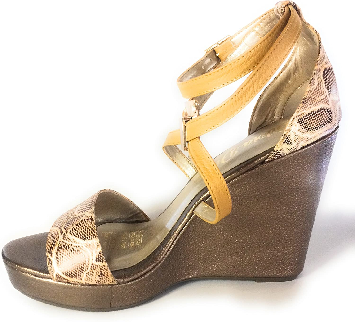 Silvia Diaz Fashion shoes Ankle Strap Wedges Bronze and Mustard