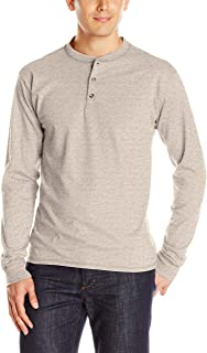Men's Long-Sleeve Beefy Henley T-Shirt - Large -...