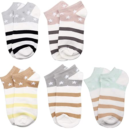 kuou 5 Pairs Non Slip Low Cut Socks, Cotton Invisible Ankle Sock Fashion Boat Socks for Women Girls