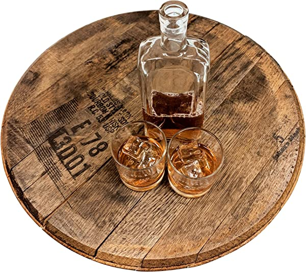 Bourbon Barrel Head Authentic Distillery Stamped Used To Age Spirits And Upcycled By WhiskeyMade Lazy Susan Jim Beam Distillery