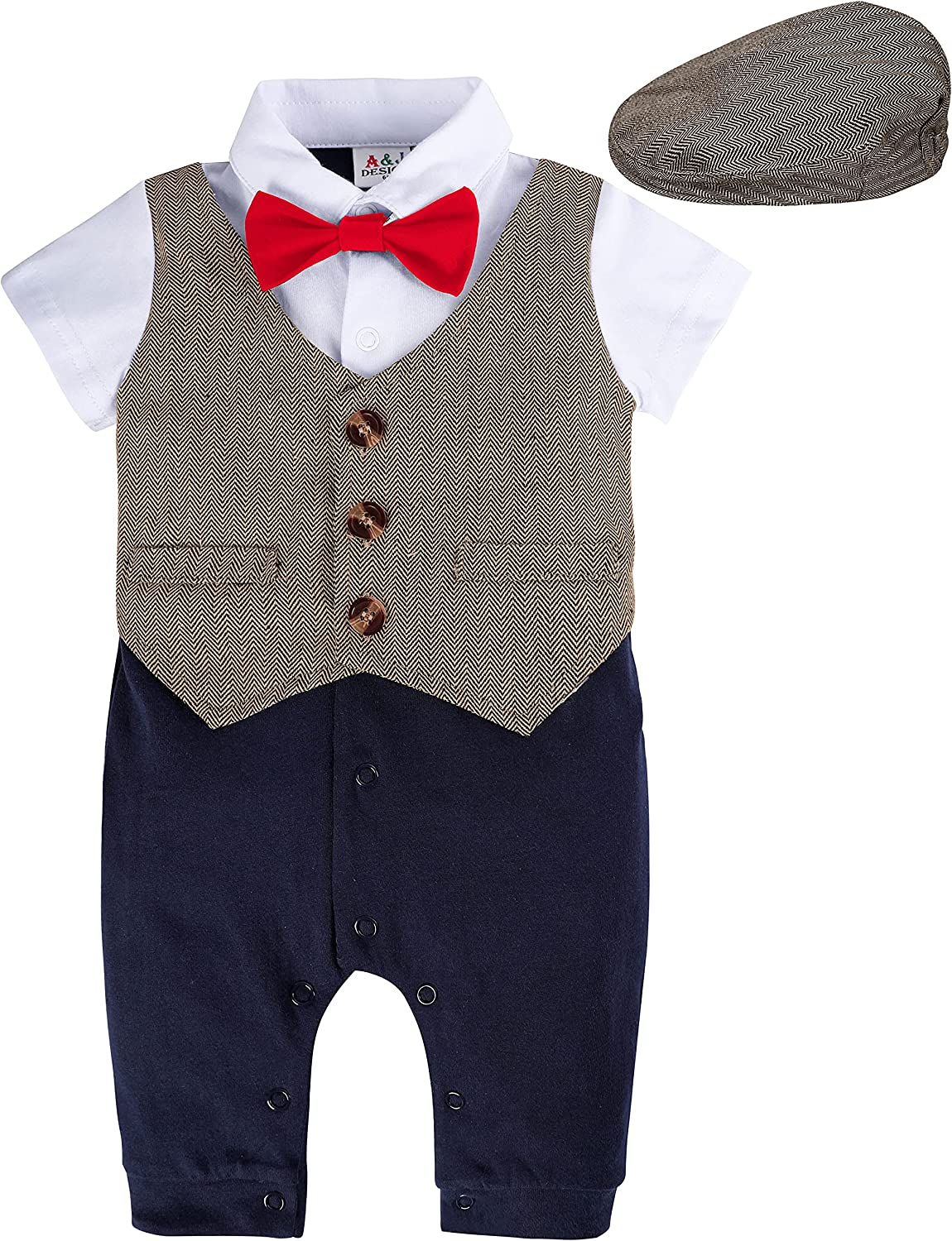 A&J DESIGN Baby Newborn Outfits for Boys, 2Pcs Baby Gentleman Romper & Hat