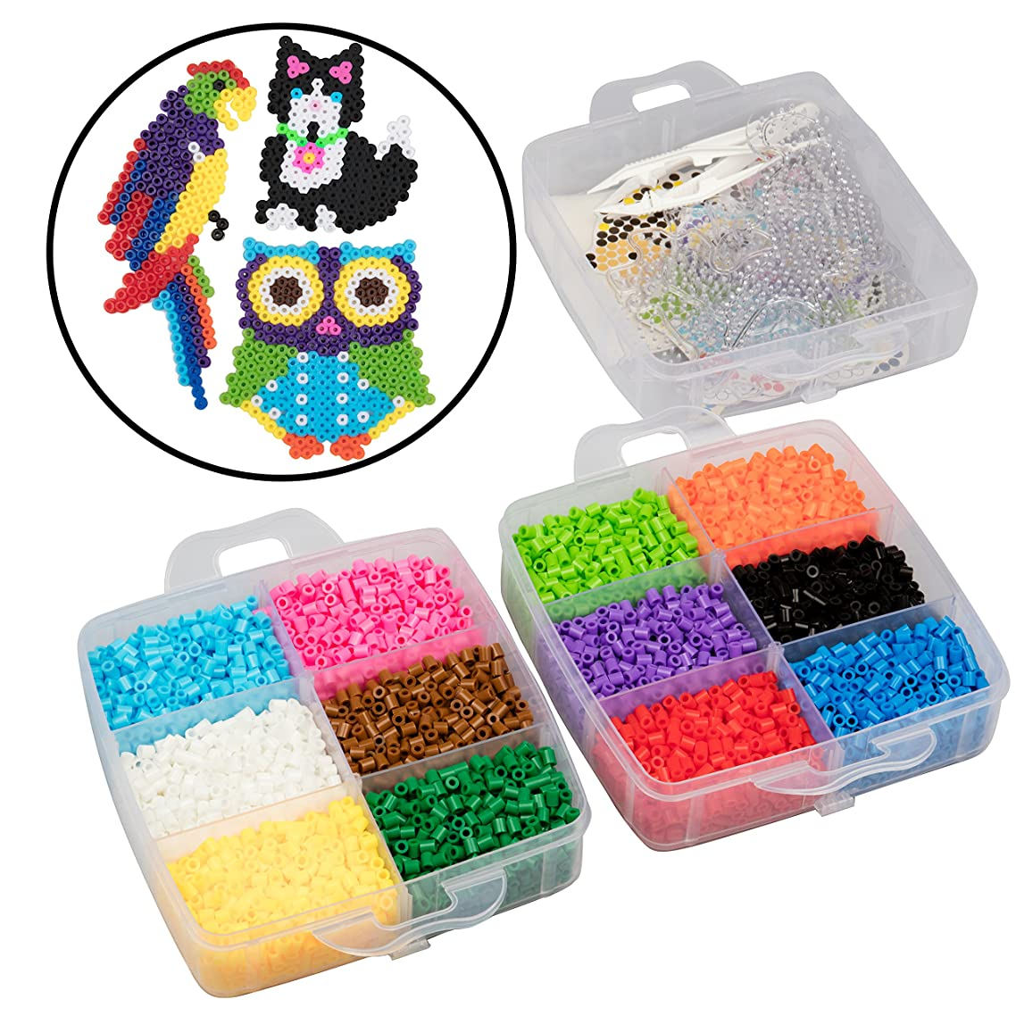 8,000pc Fuse Bead Super Kit w/Animal Pegboards and Templates - 12 Colors, 6 Peg Boards, Tweezers, Ironing Paper, Case - Works with Perler Beads