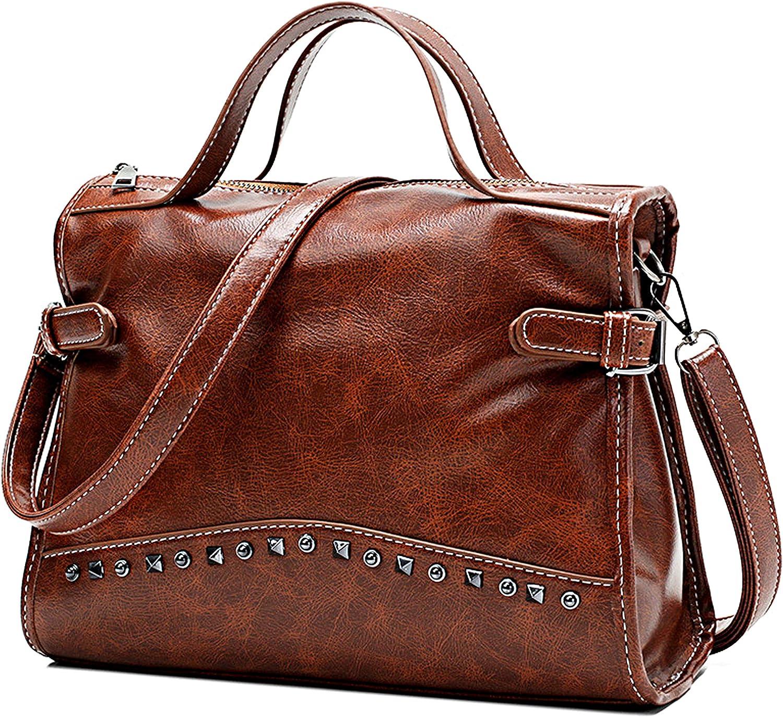 New Women's Vintage Biker Rivet Studded Briefcase Leather Handbag Messenger Shoulder Satchel Crossbody Tote Bag (Brown)
