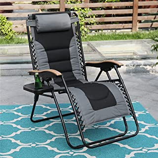 PHI VILLA XL Zero Gravity Chair Padded Recliner Oversize Lounge Chair with Free Cup Holder (Grey)