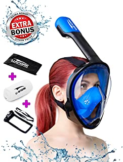 Full Face Snorkel Mask for Kids and Adults - Anti-Fog and Anti-Leak Easybreath Snorkeling Gear - Dive Scuba Mask with 180 Panoramic View and 4 Bonus Items as Snorkel Set