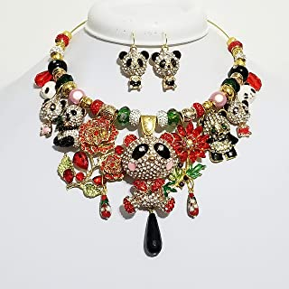 Sparkly Crystal Bear Necklace Earrings Betsey Johnson Pandas Flower One of a Kind