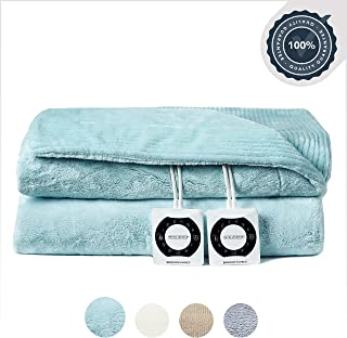 Berkshire Electric Blanket with Intellisense - Spa Blue - Twin Size Plush Heated Blanket