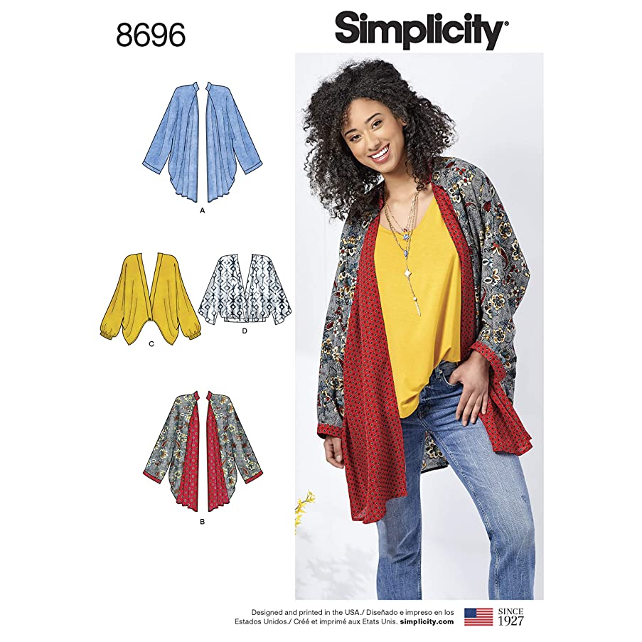 Simplicity Creative Patterns 8696 A Misses' Kimono with Length Variations, Size XS-XL