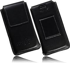 MATADOR Gürteltasche Leder Handy kompatibel mit Samsung S9 Plus / S10 Plus / S20 Plus Leder-Case Leder-Hülle Gürteltasche Schwarz Vertikal Magnetverschluss Ausziehhilfe