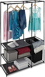 Relaxdays Portant ouvert, armoire pliable, panier à linge, tringle vêtements, penderie pliante, 180 x 115 x 50 cm, noir