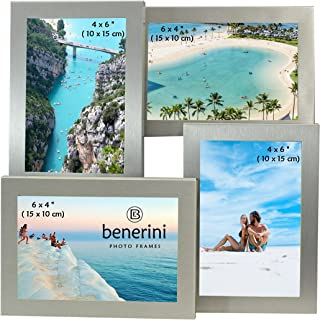 benerini Brushed Aluminum Satin Silver Color 4 Picture Multi Aperture Photo Frame Gift - Holds 4 Photographs No. 56