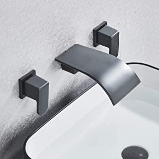 Rozin Widespread 3 Holes Bathroom Sink Faucet Wall Mounted 2 Knobs Vanity Basin Mixer Tap Oil Rubbed Bronze