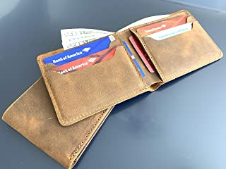 Personalized Minimalist Classic Bill-fold Wallet Distressed Leather Wallet - Brown