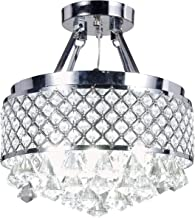 Top Lighting 4-Light Chrome Finish Round Metal Shade Crystal Chandelier Semi-Flush Mount Ceiling Fixture
