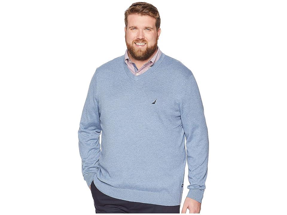 Nautica Big & Tall Big Tall Jersey V-Neck Sweater (Deep Anchor Heather) Men