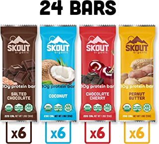 Skout Organic Protein Bars Variety Pack (24 Pack) | 10g Plant-Based Protein per Bar | No Added Sugar | Paleo Snacks & Vegan Protein Bars | Gluten, Dairy, Grain, Peanut & Soy Free