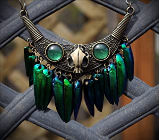 Large Bronze Resin Cat Skull Tribal Iridescent Real Jewel Beetle Wing Hand Made Bib Necklace