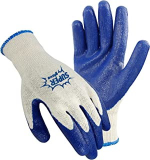 Galeton 6400-L 6400 Super Gloves Rugged Latex Coated Palm Knit Gloves, Large ,Blue/White (Pack of 12)