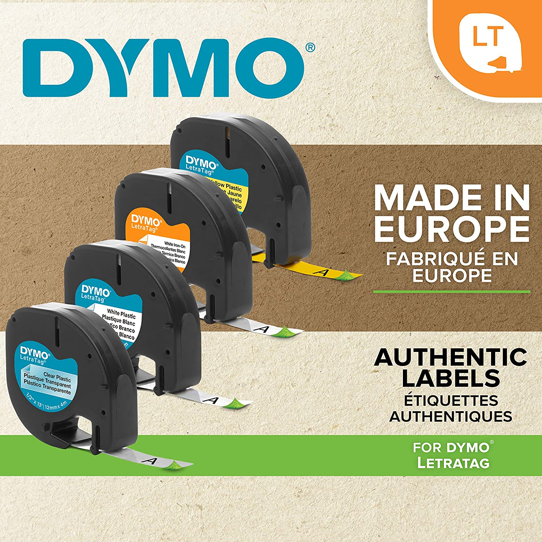 Dymo S0758380 /Étiqueteuse Letratag Lt-100T Plus /& LetraTag Ruban Textile Authentique Noir sur Blanc 1,2 cm x 2 m /Étiquettes de Transfert Textile pour /étiqueteuse LetraTag
