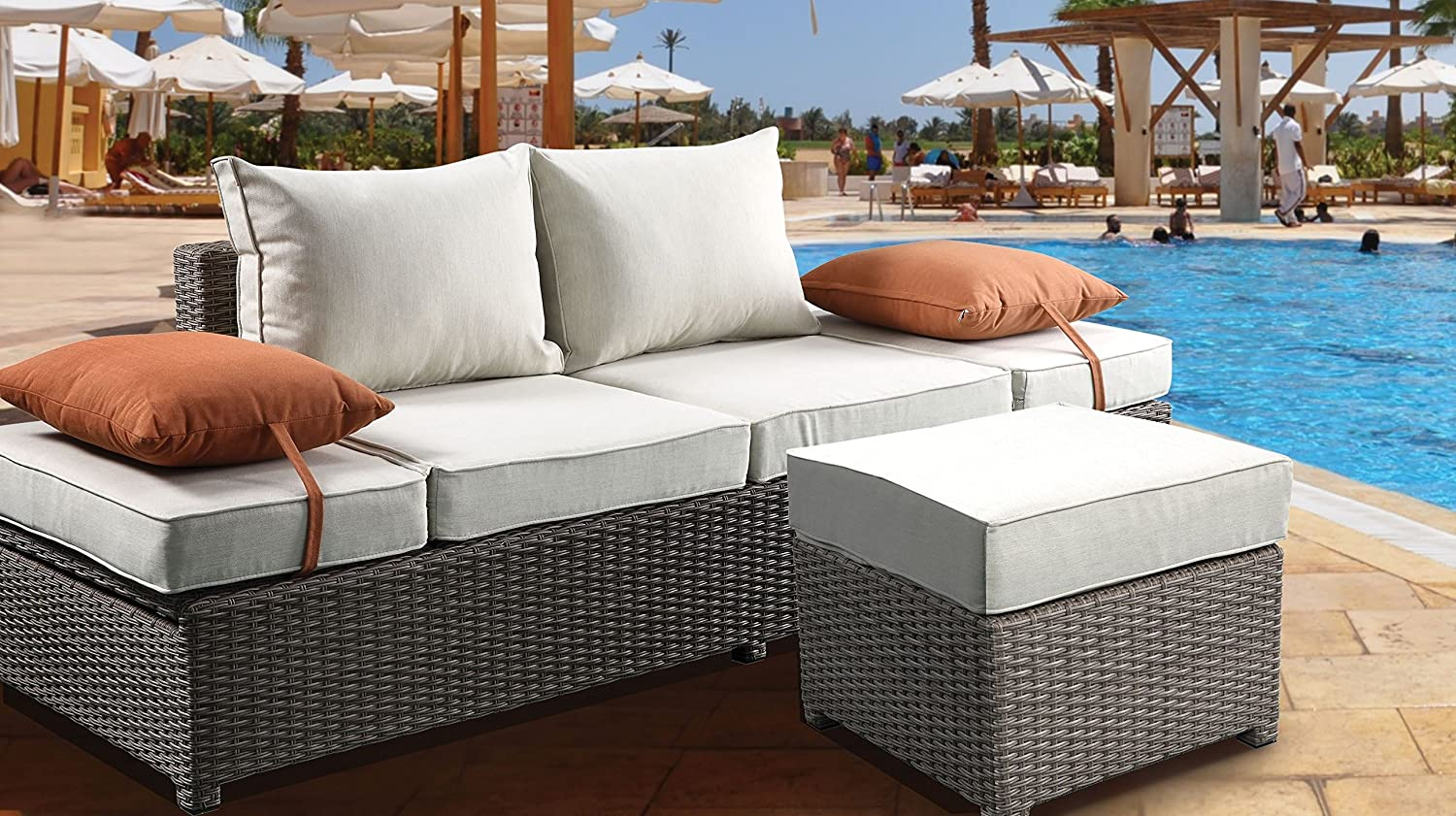 Major-Q Gray Beige Outdoor Patio Storage Max 54% OFF Cheap mail order sales with 2 Sofa Ottoman and