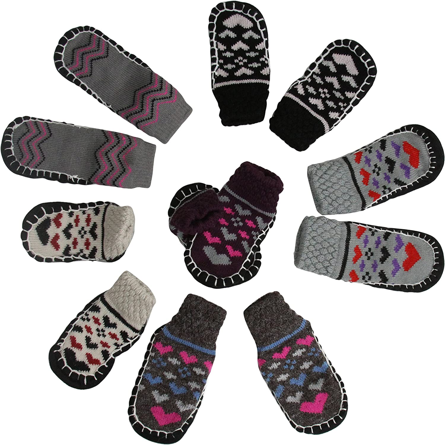 ToBeInStyle Baby Girls' Pack of 6 Print Sock Shoes with Rubber Grip