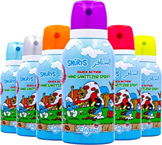 Elegant x The Smurfs Hand Sanitizer Spray - 100ml - Assorted Pack of 6-70% IPA - Advanced Germ Protection - Moisturizers &...