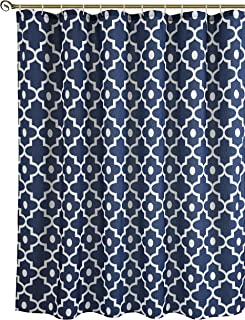 Biscaynebay Textured Fabric Shower Curtains, Morocco Pearl Printed Bathroom Curtains, Navy 72 by 72 Inches