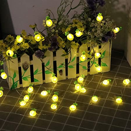 HDNICEZM Solar Outdoor Pineapple String Lights, 15.8 FT 30 LED Solar Pineapple Fairy Lights 3 Modes Copper Wire Lights Waterproof for Garden Patio Gate Yard Party Wedding Indoor Bedroom (Warm White)