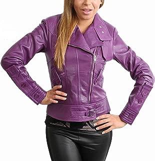 Womens Real Leather Biker Style Fitted Cross Zip Jacket Hetty Purple
