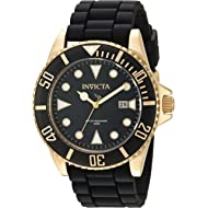 Invicta Men's Pro Diver Stainless Steel Quartz Watch with Silicone Strap, Black, 21 (Model: 90303)