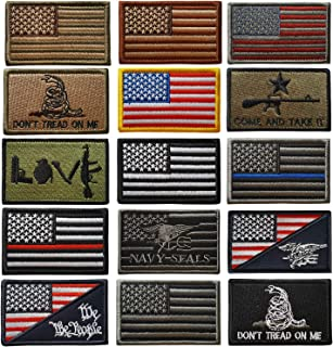 Lightbird 15 Pieces Tactical Patches Bundle,Military Morale Patches, US America Flag Patch, High Density Embroidered Decorative Patch