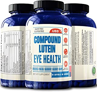 Compound Lutein Supplement with Fish Oil Plus Vitamins A E Zinc, Vision Support Supplement for Dry Eyes, Vision Health Care & Macular Health - Proudly Made in The USA (90 Count)