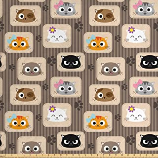 Ambesonne Cat Fabric by The Yard, Patchwork Inspired Pattern Kitty Faces Silly Expressions Footprints Stripes, Decorative Fabric for Upholstery and Home Accents, 2 Yards, Taupe Orange