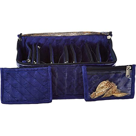 Amazon Brand - Solimo Cotton Jewellery Box With 10 Transparent Pouches, Blue