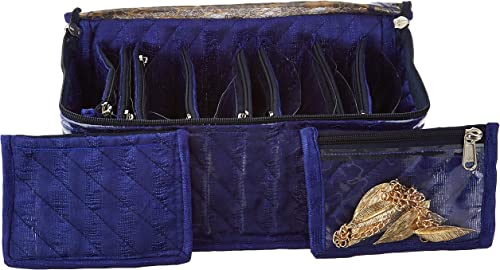 Amazon Brand - Solimo Fabric Jewellery Box with 10 Transparent Pouches, Blue