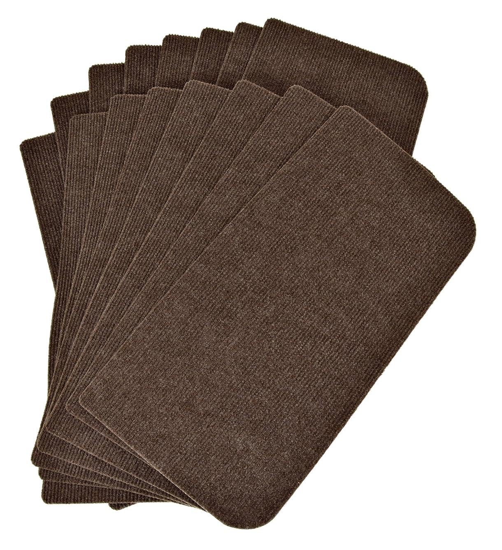 包帯設計め言葉ワタナベ工業 国産タイルカーペット 吸着ぴたマット 階段用 15枚組 45X22cm ブラウン