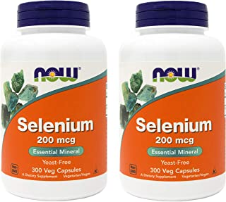 Now Selenium 200mcg 300 Veg Capsules (Pack of 2) - Yeast Free, Non-GMO, Vegan, Kosher
