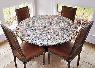 پوشش برای صفحه اصلی الاستیک لبه دار پشتی وینیل با روکش جدول - الگوی هندسی چند رنگ - دور بزرگ - جداول متناسب با قطر 45 ″ - 56 اینچ