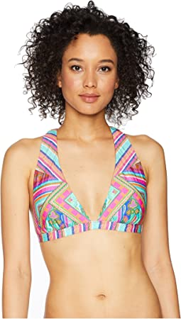 Scarf Medallion Cross Back Triangle Bikini Top