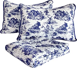 CozyHome Classic Toile Print Quilt Set, Full/Queen, Blue