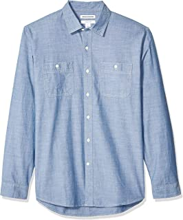Amazon Essentials Men's Regular-fit Long-Sleeve Chambray Shirt